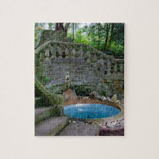 Blue Garden Fountain Jigsaw Puzzle