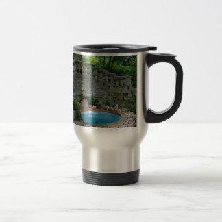 Blue Garden Fountain Travel Mug