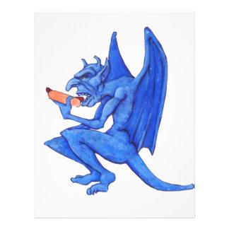 Blue Gargoyle Eating a Hot Dog Personalized Letterhead