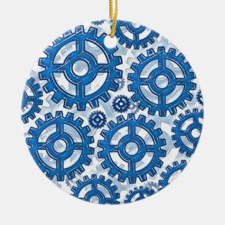 Blue gear wheels ceramic ornament