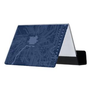 Nerd business card holders zazzle blue geek motherboard circuit pattern desk business card holder reheart Choice Image