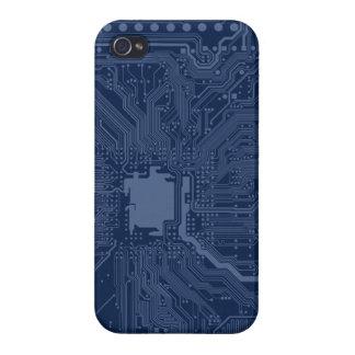 Blue Geek Motherboard Circuit Pattern iPhone 4/4S Covers