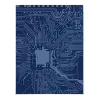 Blue Geek Motherboard Circuit Pattern Magnetic Invitations