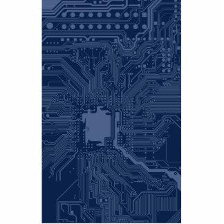 Blue Geek Motherboard Circuit Pattern Photo Sculpture Button