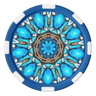 Blue Gem Fractal Poker Chips