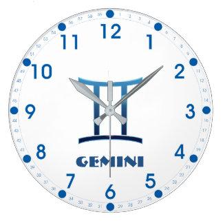 Blue Gemini Zodiac Sign On White Large Clock