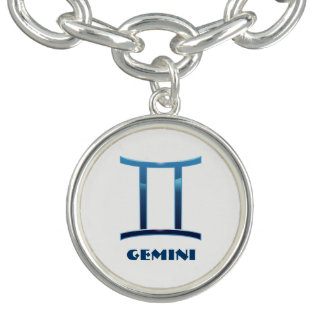 Blue Gemini Zodiac Signs On White Bracelet
