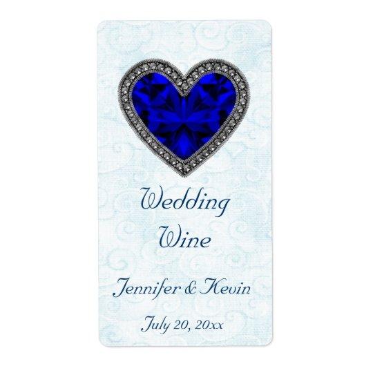 Blue Gemstone Heart Wedding Mini Wine Label Shipping Label