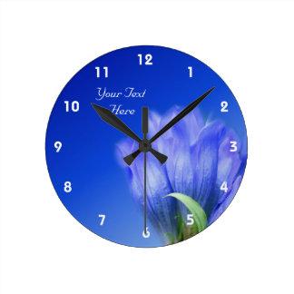 Blue Gentian Flower Personalized Round Clock