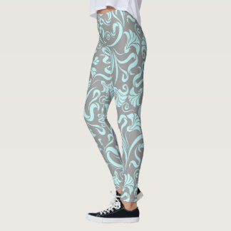 Blue Gentle Floral Graphic Gray Background Legging