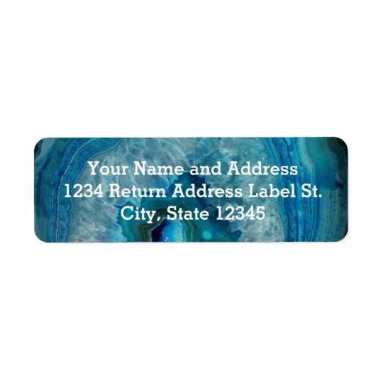 Blue Geode Rock Mineral Agate Crystal Image Return Address Label