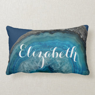 Blue Geode Rock - Personalized Name Lumbar Pillow