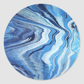 Blue Geode Sparkle Classic Round Sticker