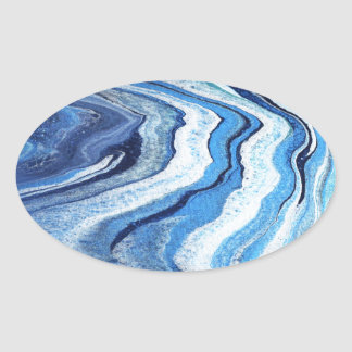 Blue Geode Sparkle Oval Sticker
