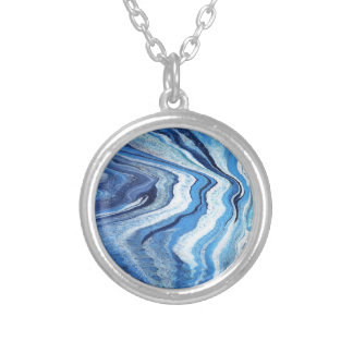 Blue Geode Sparkle Silver Plated Necklace