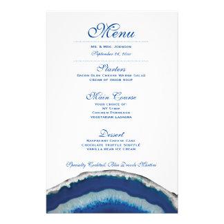 Blue Geode Wedding Dinner Menu Flyers