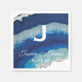 Blue Geode Wedding Monogram Disposable Napkins