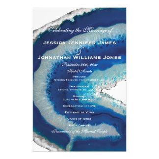 Blue Geode Wedding Programs Flyers