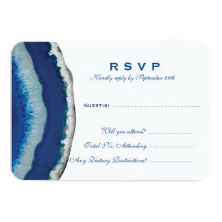 Blue Geode Wedding Response Card (Detailed)