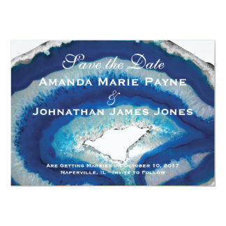 Blue Geode Wedding Save the Date Card