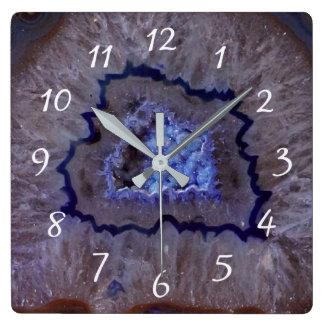 Blue Geodes Faux Stone Gem Clock