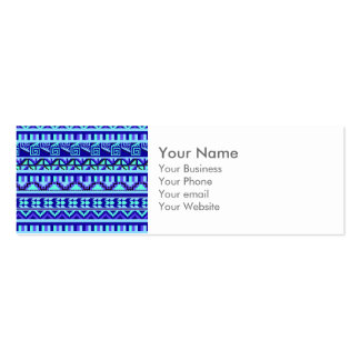 Blue Geometric Abstract Aztec Tribal Print Pattern Business Card Template