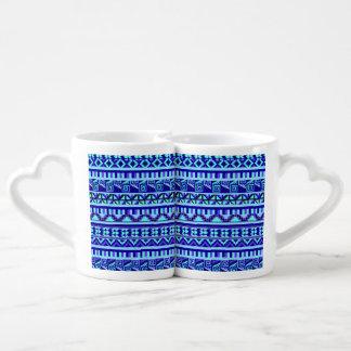 Blue Geometric Abstract Aztec Tribal Print Pattern Coffee Mug Set