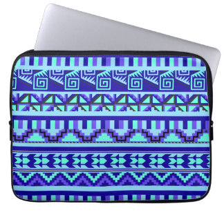 Blue Geometric Abstract Aztec Tribal Print Pattern Laptop Sleeve