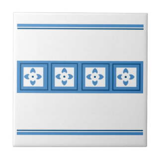 blue geometric flowers & squares digital tile