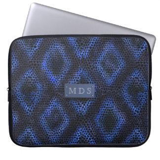 Blue Geometric Monogrammed Pattern Laptop Sleeve