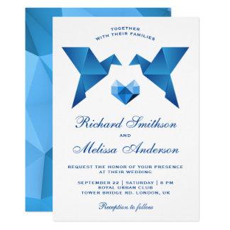 Blue Geometric Origami Birds Wedding Invitation