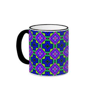 Blue geometric pattern mug