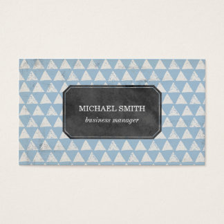Blue Geometric Triangle Pattern Business Card