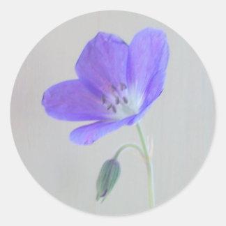 Blue Geranium Classic Round Sticker
