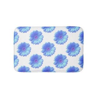 Blue gerbera daisy bathroom mat