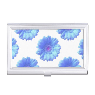 Blue gerbera daisy business card cases
