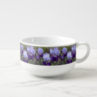 Blue German Irises Soup Bowl With Handle