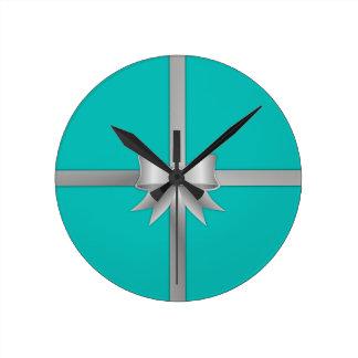 Blue Gift Box Round Clock
