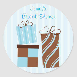 Blue Gift Box Shower Stickers Envelope Seals