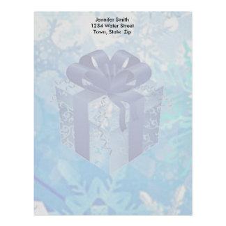 Blue Gift Box with Blue Ribbon Letterhead