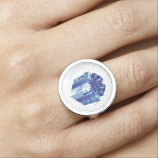 Blue Gift Box with Blue Ribbon Photo Ring