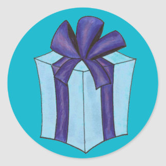Blue Gift with Bow Stickers