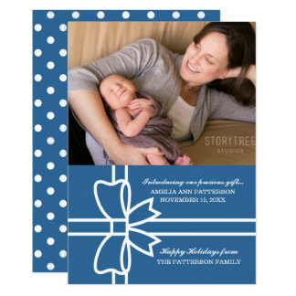 Blue Gifted Holiday Photo Flat Card
