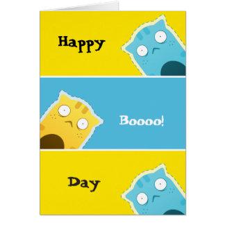 Blue Ginger Cat greetings card
