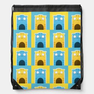 Blue Ginger Cat plaid Drawstring Backpack