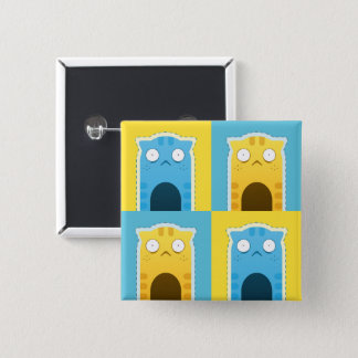 Blue Ginger Cat Square Button