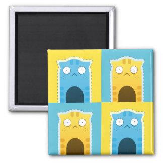 Blue Ginger Cat Square Magnet