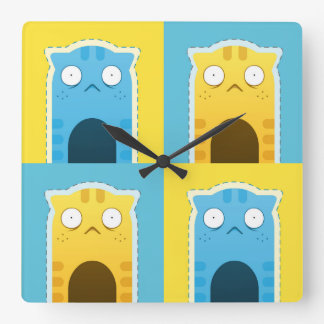 Blue Ginger Cat Square Wall Clock