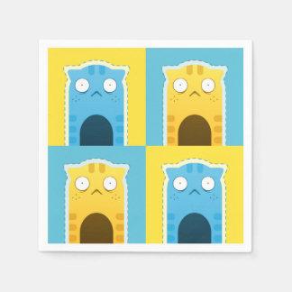 Blue Ginger Cat Standard Cocktail Paper Napkins