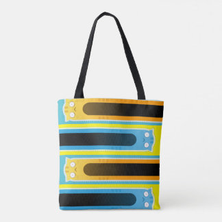 Blue Ginger Cat striped tote bag